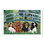 Bridge & 4 Cavaliers Sticker (Rectangle)