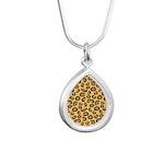 Leopard Spots Animal Ski Silver Teardrop Necklace