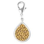 Leopard Spots Animal Skin Silver Teardrop Charm