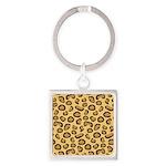 Leopard Spots Animal Skin Square Keychain