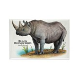 Black Rhinoceros Rectangle Magnet