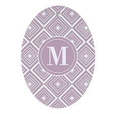 Diamond Pattern Violet and White Monogram Ornament