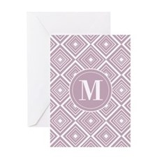 Diamond Pattern Violet and White Monogram Greeting