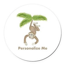 Personalized Monkey Round Car Magnet