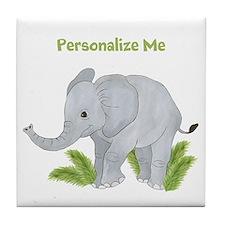 Personalized Elephant Tile Coaster