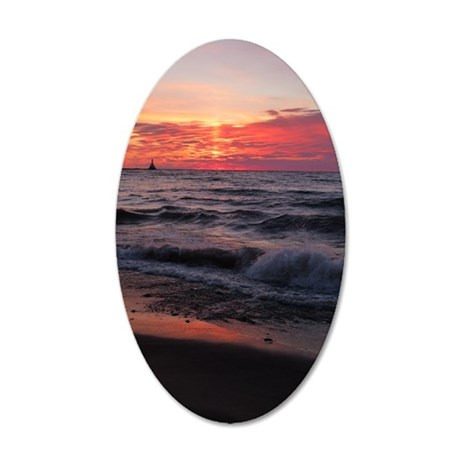 Sunset with waves Wall Decal