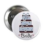 Bride Wedding Cake Blue Brown Button (100 pack)