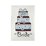 Bride Wedding Cake Blue Brown Magnet (10 pack)