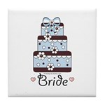 Bride Blue Brown Wedding Cake Tile Coaster
