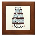 Wedding Cake Bride Blue Brown Framed Tile Keepsake
