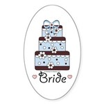 Bride Wedding Cake Blue Brown Pink Hearts Sticker