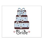 Bride Blue Brown Wedding Cake Pink Hearts Poster