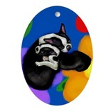 Boston Terrier & Puppy Ornament (Oval)