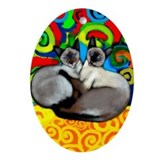 Siamese Cats Oval Ornament