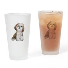 Shih Tzu (red-Wte) Drinking Glass