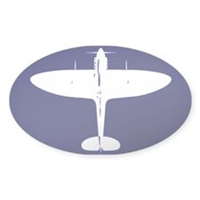 White Spitfire on Navy background Oval Decal