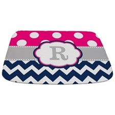 Pink Navy Gray Dots Chevron Monogram Bathmat