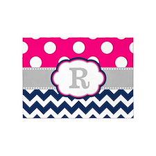 Pink Navy Gray Dots Chevron Monogram 5'x7'Area Rug
