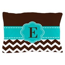 Brown Teal Chevron Monogram Pillow Case