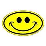 Classic Yellow Smiley Face Oval Decal