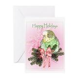 Christmas budgie Greeting Cards