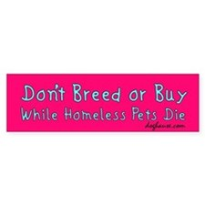 Don't Breed or Buy Pink Bumper Car Sticker