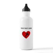 Soccer Player Heart (Custom) Water Bottle