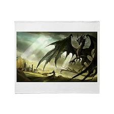 Great Black Dragon Throw Blanket