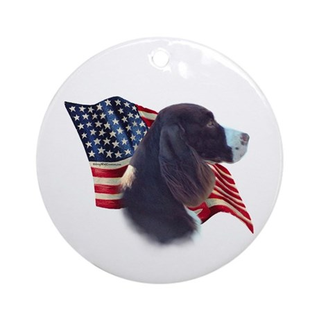 English Springer Flag Ornament (Round)
