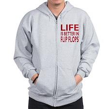 Life Is Better In Flip Flops Block Print Red Zip Hoodie