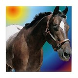 Appaloosa Head Tile Coaster vivid mixture