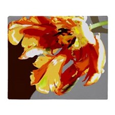 Gold and Red Abstract Silk Screen Parrot Tulip Thr
