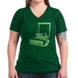 Retro Record Player Women's V-Neck Dark T - green