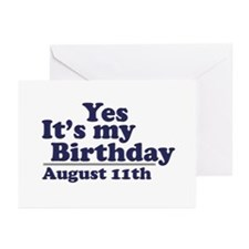 August 11 Birthday Greeting Cards (Pk of 10)