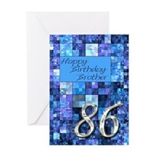 86th Birthday card for a brother,with abstract squ