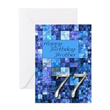 77th Birthday card for a brother,with abstract squ