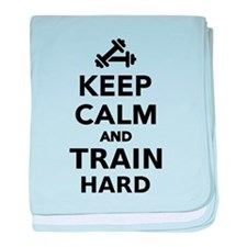 Keep calm and train hard baby blanket