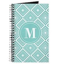 Diamond Pattern Blue and White Monogram Journal