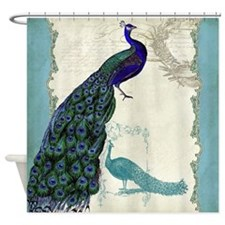 Vintage Peacock Etchings Scroll Swi Shower Curtain