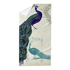 Vintage Peacock Etchings Scroll Swirl Beach Towel