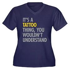 Its A Tattoo Women's Plus Size V-Neck Dark T-Shirt
