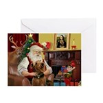 Santa At Home-Airedale Greeting Cards (pk Of 10)