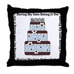 2008 Blue Brown Wedding Cake Throw Pillow