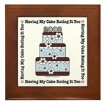 2008 Blue Brown Wedding Cake Framed Tile