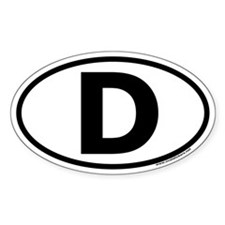 "Germany Euro Style Oval Sticker with a smooth ""D"""