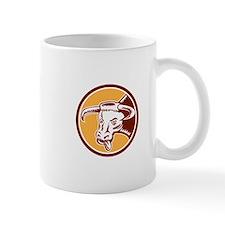 Angry Texas Longhorn Bull Head Woodcut Mugs