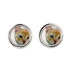 Kitten Round Cufflinks