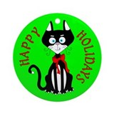 Holiday Tuxedo Cat Ornament (Round)