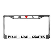 Peace Love Giraffes License Plate Frame