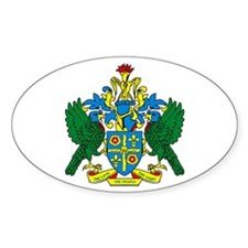 St. Lucia Coat of Arms Oval Decal